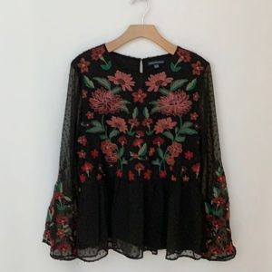 AEO  Boho Sheer Black Floral Embroidered Top